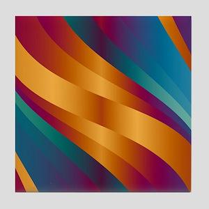 Golden Turquoise Wave Tile Coaster
