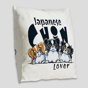 Japanese Chin Lover Burlap Throw Pillow