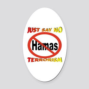 No Hamas International Symbol Oval Car Magnet