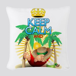 Keep Calm and Relax on Hammock! Woven Throw Pillow
