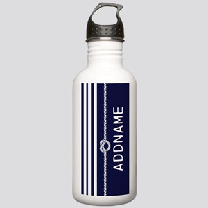 Navy Blue White Stripe Stainless Water Bottle 1.0L