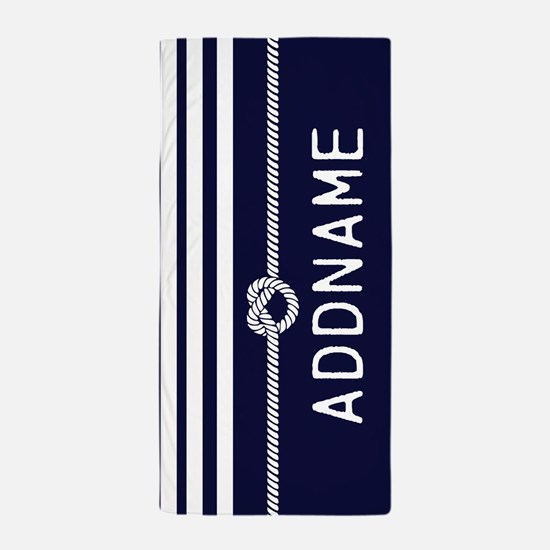 Navy Blue White Stripe Personalized Beach Towel