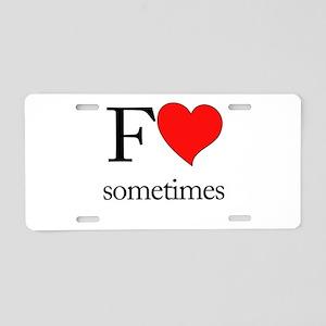 F Heart Aluminum License Plate
