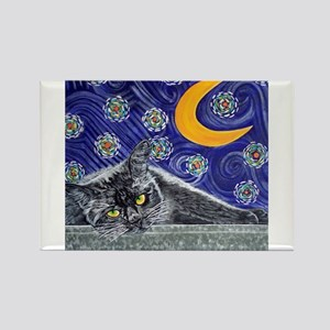 Starry night black cat Rectangle Magnet
