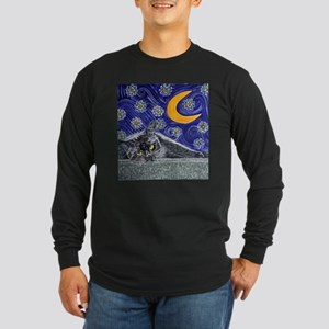 Starry night black cat Long Sleeve Dark T-Shirt