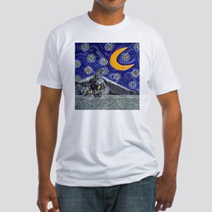 Starry night black cat Fitted T-Shirt