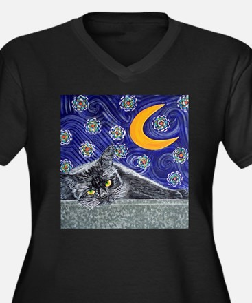 Starry night black cat Women's Plus Size V-Neck Da