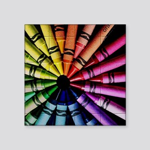 crayons square stickers cafepress