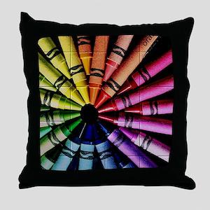 Crayon Color Wheel Throw Pillow