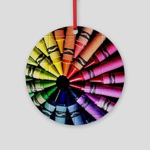 Crayon Color Wheel Round Ornament