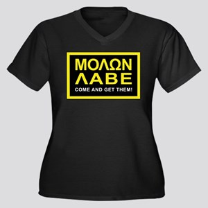 Molon Labe Women's Plus Size V-Neck Dark T-Shirt