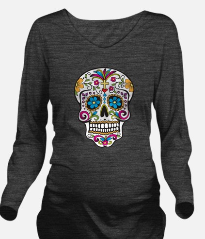Unique Day of the dead skull Long Sleeve Maternity T-Shirt