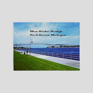 Blue Water Bridge  5'x7'Area Rug