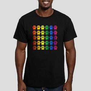 Rainbow Paw Print Patt Men's Fitted T-Shirt (dark)