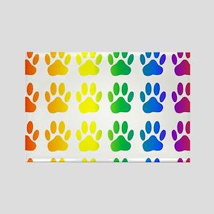 Rainbow Paw Print Pattern Magnets