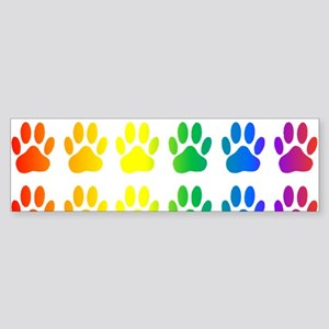 Rainbow Paw Print Pattern Bumper Sticker
