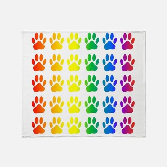 Cute Rainbow paws Throw Blanket