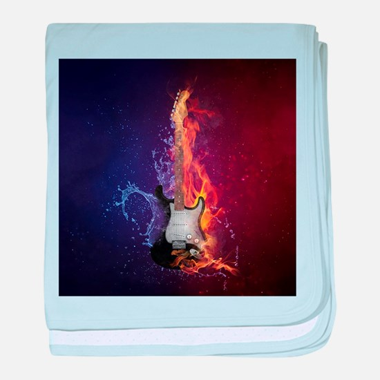 Cool Music Guitar Fire Water Artistic baby blanket