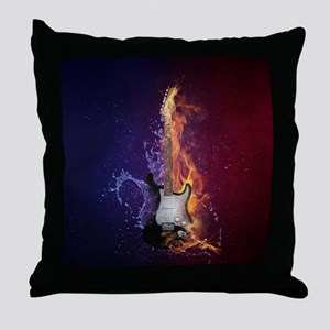 Cool Music Guitar Fire Water Artistic Throw Pillow