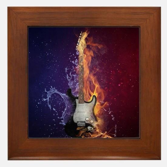 Cool Music Guitar Fire Water Artistic Framed Tile