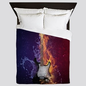 Cool Music Guitar Fire Water Artistic Queen Duvet