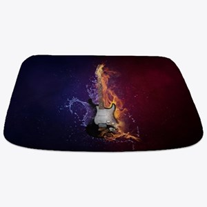 Cool Music Guitar Fire Water Artistic Bathmat