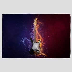 Cool Music Guitar Fire Water Artistic 4' x 6' Rug