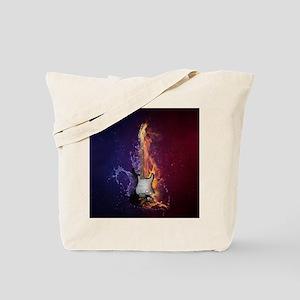 Cool Music Guitar Fire Water Artistic Tote Bag