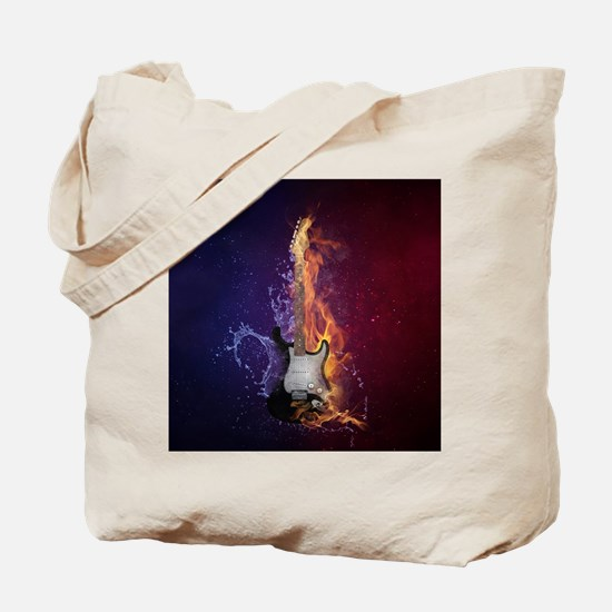 Cool Music Guitar Fire Water Artistic Tote Bag
