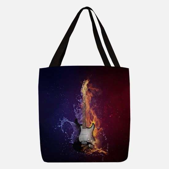 Cool Music Guitar Fire Water Ar Polyester Tote Bag