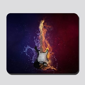 Cool Music Guitar Fire Water Artistic Mousepad