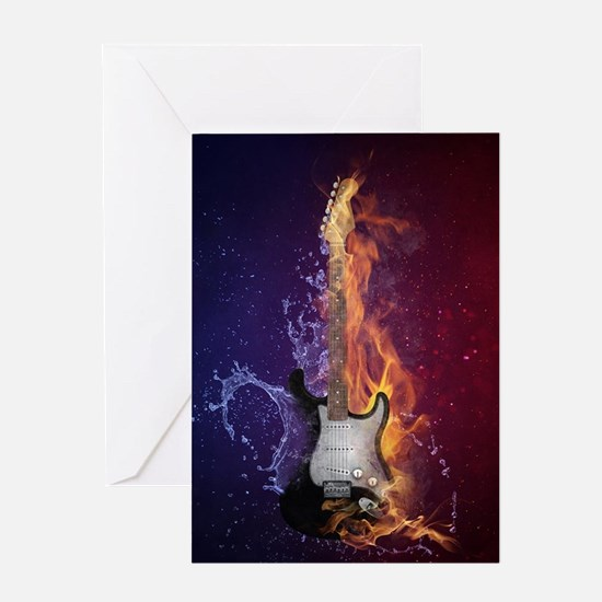 Cool Music Guitar Fire Water Artist Greeting Cards