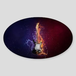 Cool Music Guitar Fire Water Artistic Sticker