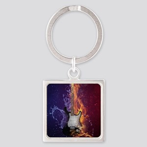 Cool Music Guitar Fire Water Artistic Keychains