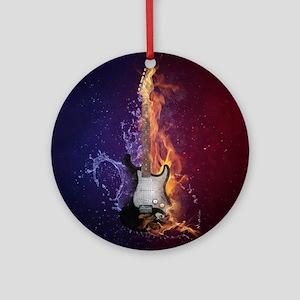Cool Music Guitar Fire Water Artist Round Ornament