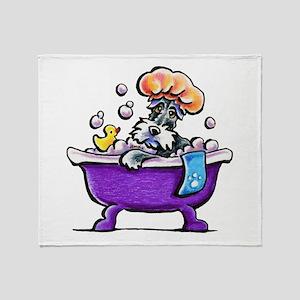 Schnauzer Bath Throw Blanket