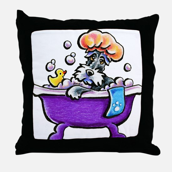 Schnauzer Bath Throw Pillow