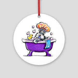 Schnauzer Bath Ornament (Round)
