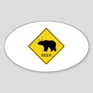 Beer bear deer  Sticker (Oval)