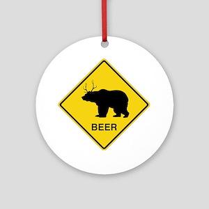 Beer bear deer  Round Ornament