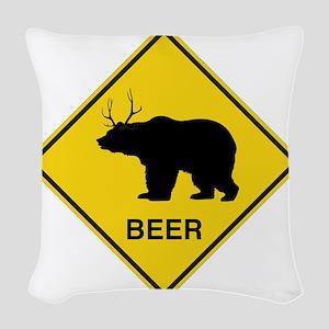 Beer bear deer  Woven Throw Pillow