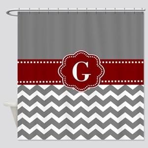 Gray Dark Red Chevron Monogram Shower Curtain