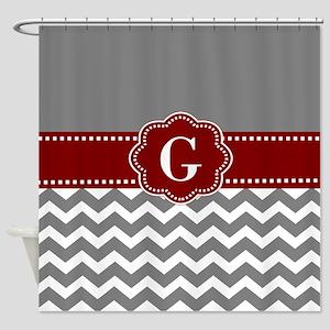 Grey Red Chevron Shower Curtains - CafePress