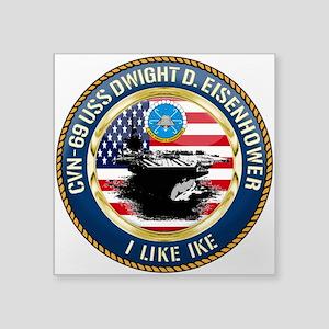 """CVN-69 USS Eisenhower Square Sticker 3"""" x 3"""""""