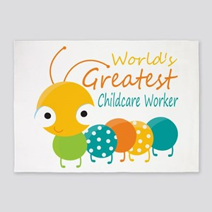 World's Greatest Childcare Worker 5'x7'Area Rug