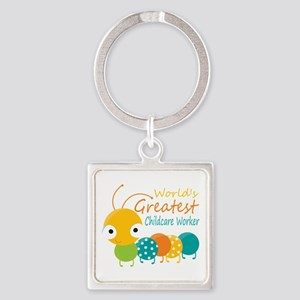 World's Greatest Childcare Worker Square Keychain