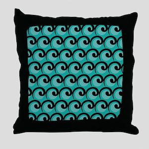 Art Deco Teal Waves Throw Pillow