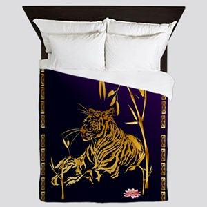 Gold Tiger And Bamboo Queen Duvet