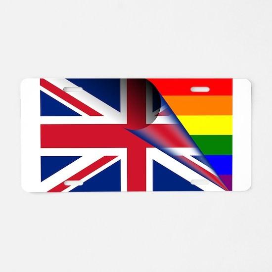 U.K. Gay Pride Rainbow Flag Aluminum License Plate