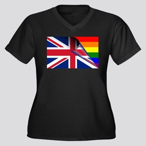 U.K. Gay Pride Rainbow Flag Plus Size T-Shirt